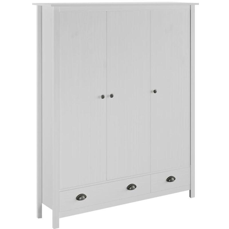 Kleiderschrank mit 3 Türen Hill Range Weiß 127x50x170 cm Kiefer - ZQYRLAR
