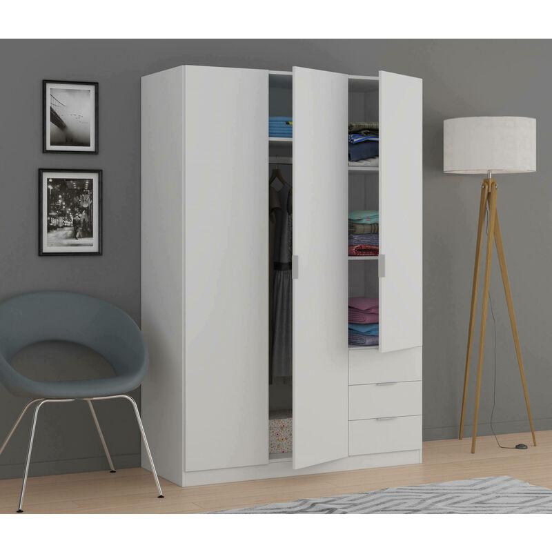Kleiderschrank mit drei Türen und drei Schubladen, Farbe Weiß, 180 x 121 x 57 cm - DMORA