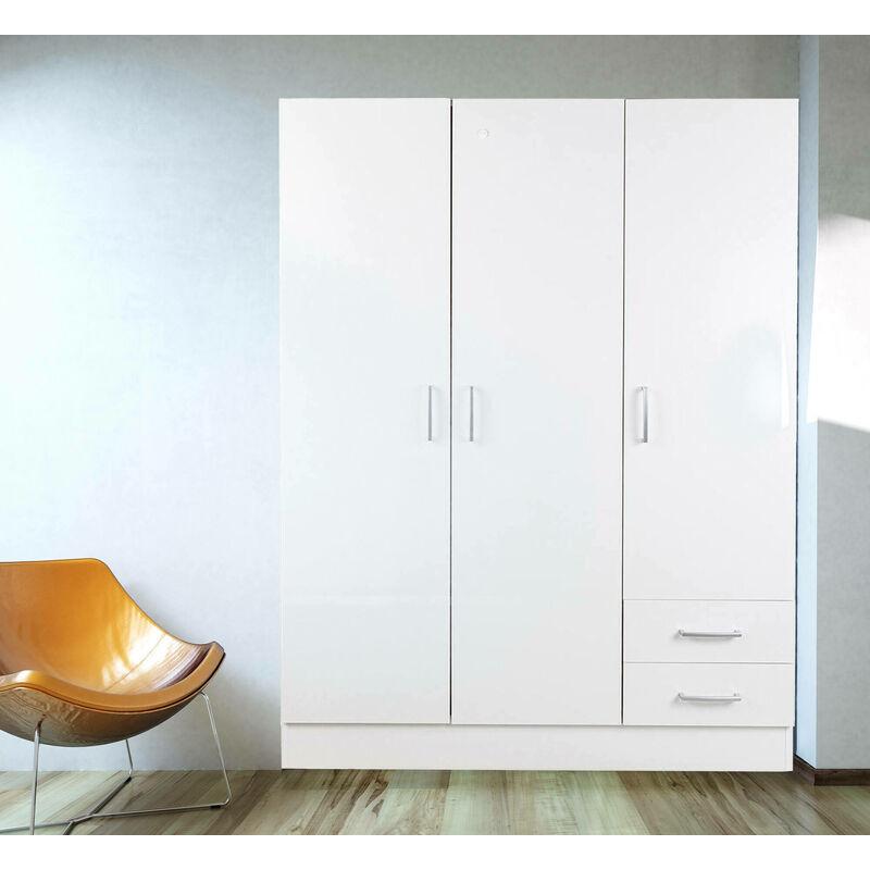 Kleiderschrank mit drei Türen und zwei Schubladen mit Regalen und Kleiderstange, Farbe Weiß, 120 x 50 x 170 cm - DMORA