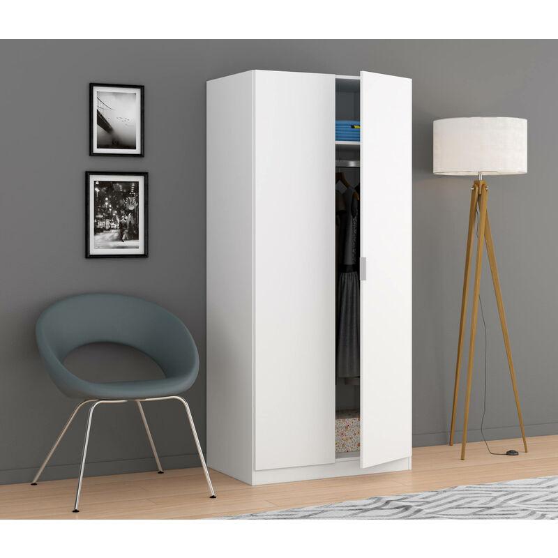 Kleiderschrank mit zwei Türen, Farbe Weiß, 81,5 x 180 x 52 cm. - DMORA