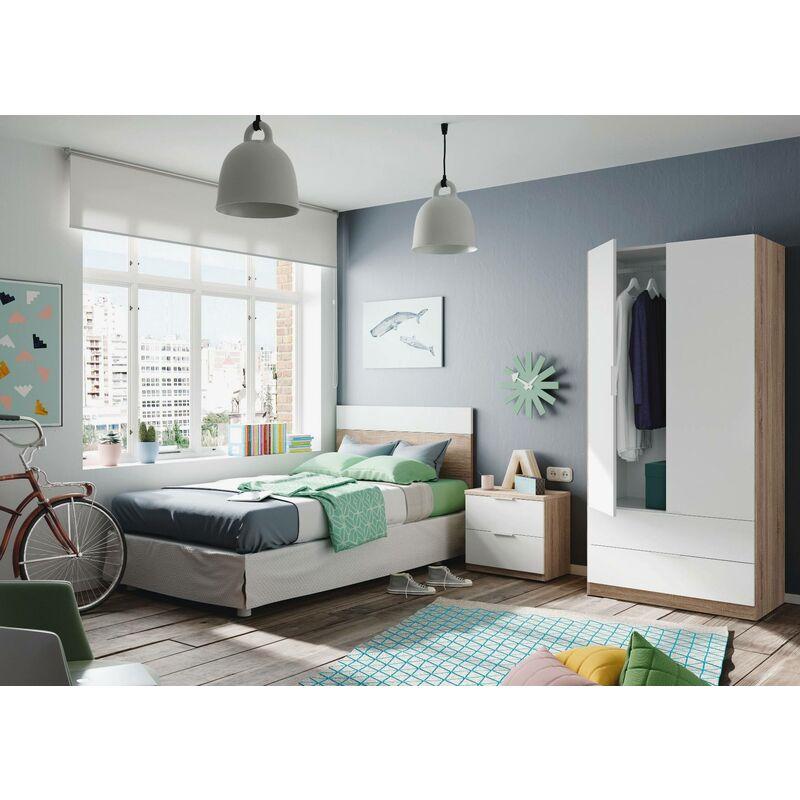 Kleiderschrank mit zwei Türen und zwei Schubladen im unteren Teil, Farbe Eiche mit Arktik weißen Türen, 81,5 x 180 x 52 cm.