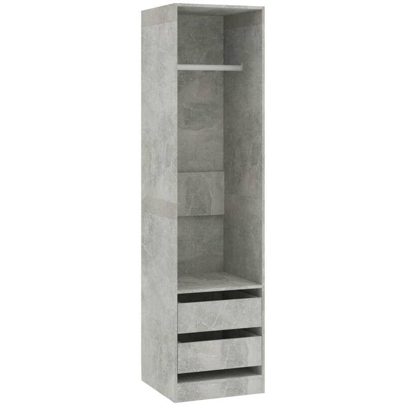 Kleiderschrank mit Schubladen 50x50x200cm Spanplatte Betongrau - VIDAXL