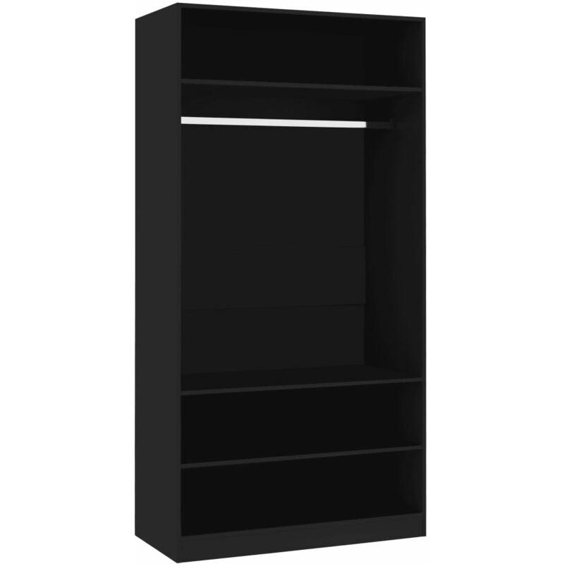 Kleiderschrank Schwarz 100×50×200 cm Spanplatte - ZQYRLAR