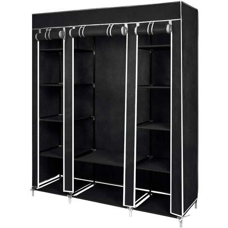 Kleiderschrank, Stoffschrank, Faltschrank, Garderobe mit Kleiderstange, 3 hochrollbaren Türen, Faltbarer Stoff-Schrank, 175cm*150cm*45cm, Grau-Meerveil