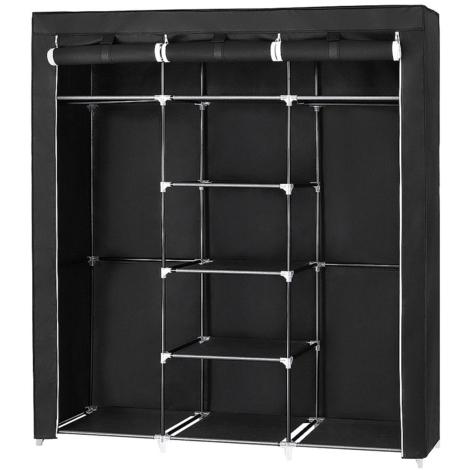 Kleiderschrank Stoffschrank Faltschrank Wäscheschrank Garderobe mit Kleiderstange Schwarz 175*150*45cm