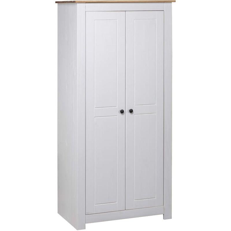 Kleiderschrank Weiß 80×50×171,5 cm Kiefer Massiv Panama Serie - ZQYRLAR