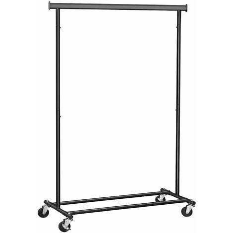 Schwerlast-Kleiderständer, Garderobenständer auf Rollen, bis 90 kg belastbar, mit ausziehbarer Kleiderstange, zusammenklappbares Unterteil, Ablage für Boxen, schwarz HSR13BKV1 - Black
