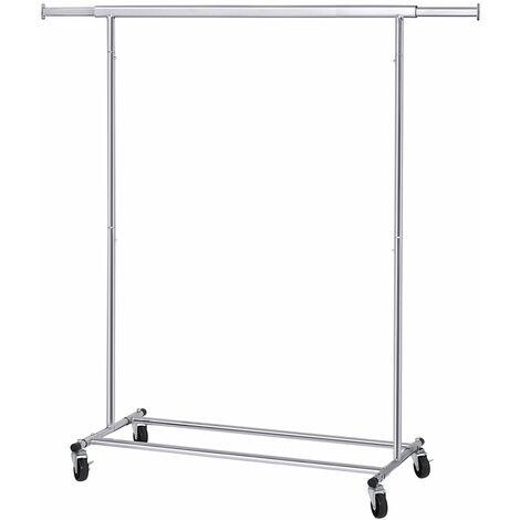 Schwerlast Metall Kleiderständer bis 90 kg belastbar mit Rollen Garderobenständer klappbar, Länge: 92-132 cm, Chrom, Industrie HSR13S - Argenté