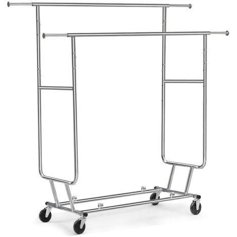 Kleiderständer Garderobenständer 2 Kleiderstange mit Rollen Zusammenklappbar Wäschenständer bis 130 kg