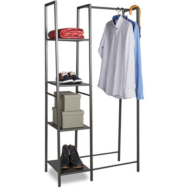 Kleiderständer Metall, Offener Kleiderschrank, Freistehend, 4 Ablagen, Kleiderstange, HxBxT: 162 x 85 x 40 cm, grau