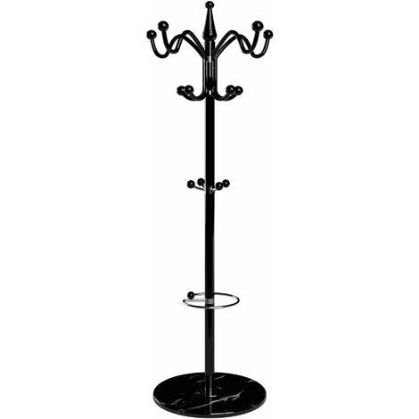 Deuba Garderobenständer Kleiderständer mit Marmorfuß Standgarderobe Garderobe Metall schwarz 3