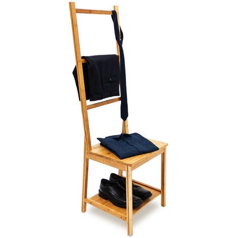 Kleiderstuhl aus Bambus als Herrendiener mit 2 Ablagen HBT 133 x 40 x 42 cm Stummer Diener aus Holz mit 3 Streben als Handtuchstangen Badstuhl mit Handtuchhalter oder Kleiderbutler, natur