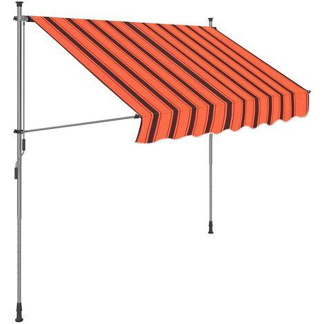 Klemmmarkise, 200 x 130 cm, einrollbare Balkonmarkise, Sonnenschutz, Markise mit Gestell, verstellbare Höhe 2-3 m, orange-schwarz gestreift GSA203OB