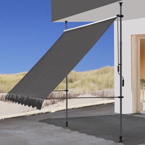 Klemmmarkise 250x130cm Grau Balkonmarkise Sonnenschutz Terrassenüberdachung Höhenverstellbar von 200-290cm Markise Balkon ohne Bohren
