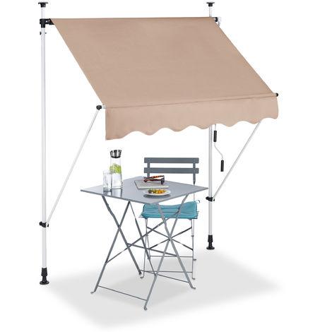 Klemmmarkise, Balkon Sonnenschutz, einziehbar, Fallarm, ohne Bohren, höhenverstellbar, 150 cm breit, beige