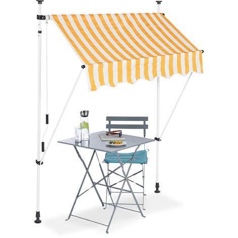 Klemmmarkise, Balkon Sonnenschutz, einziehbar, Fallarm, ohne Bohren, höhenverstellbar, 150 cm breit, gestreift