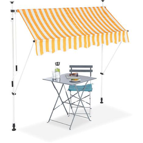 Klemmmarkise, Balkon Sonnenschutz, einziehbar, Fallarm, ohne Bohren, höhenverstellbar, 200 cm breit, gestreift