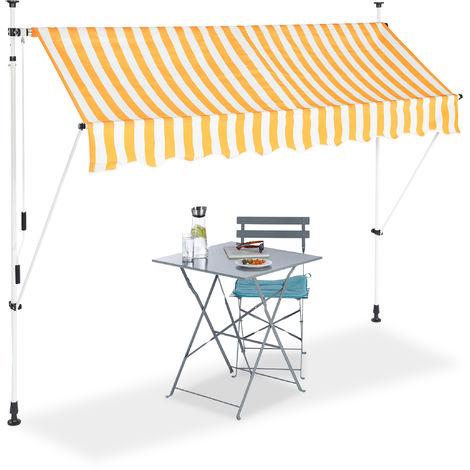 Klemmmarkise, Balkon Sonnenschutz, einziehbar, Fallarm, ohne Bohren, höhenverstellbar, 250 cm breit, gestreift