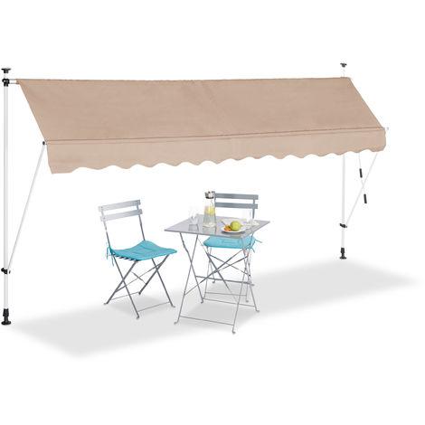 Klemmmarkise, Balkon Sonnenschutz, einziehbar, Fallarm, ohne Bohren, höhenverstellbar, 350 cm breit, beige