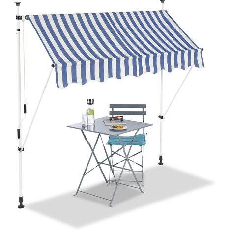 Klemmmarkise, Balkon Sonnenschutz, einziehbar, Fallarm, ohne bohren, verstellbar, 200 cm breit, blau gestreift