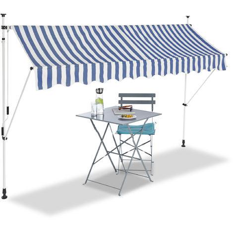 Klemmmarkise, Balkon Sonnenschutz, einziehbar, Fallarm, ohne bohren, verstellbar, 300 cm breit, blau gestreift
