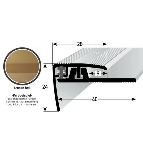 "Klick-Treppenkante für Vinyl / Laminat / Parkett ""Lakeview"", Höhe 4 - 7 mm, 28 mm breit, 2-teilig, Aluminium eloxiert, gebohrt"