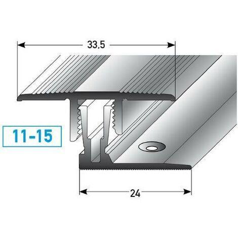 """Klick-Übergangsprofil / Übergangsschiene Laminat """"Grafton"""", Höhe 11 - 15 mm, 33,5 mm breit, 2-teilig, Aluminium eloxiert"""