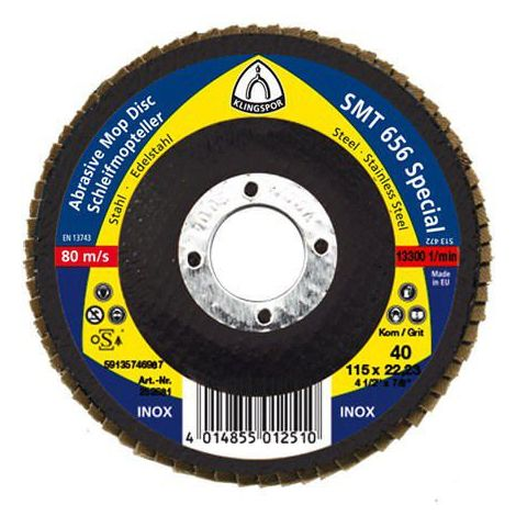 10x Klingspor Flap disc 125X22 K80