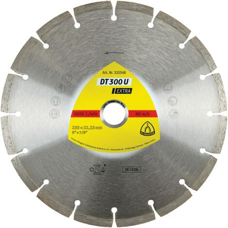 Klingspor T 300 U Extra 230MM Universal Diamond Blade for Angle Grinders On Cons