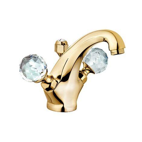 KLUDI ADLON Waschtischarmatur Ablaufgarnitur Ausl.140mm gold/kristall, 5101045G4