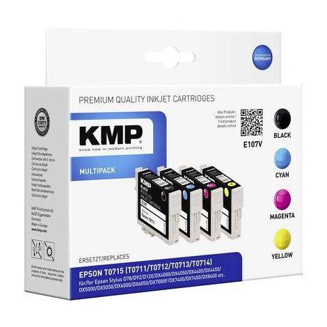 KMP Encre remplace Epson T0711, T0712, T0713, T0714 compatible pack bundle noir, cyan, magenta, jaune E107V 1607,4005
