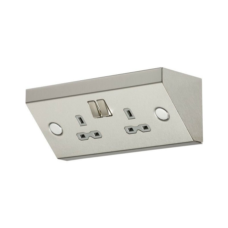 Image of Knightsbridge 13A 2G Mounting DP Switched Socket - Stainless Steel with grey insert