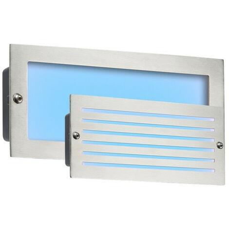 Knightsbridge Blue LED Recessed Brick Light - Brushed Steel Fascia, 230V IP54 5W