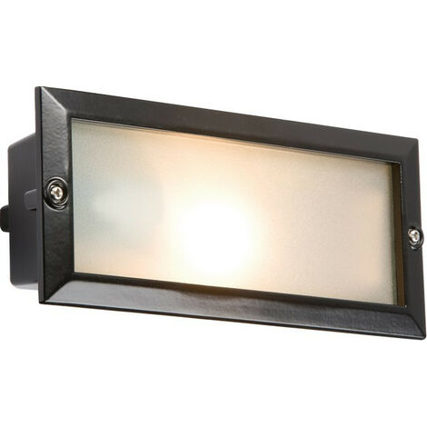Knightsbridge Bricklight with Plain and Louvred Black Cover, IP44, E27