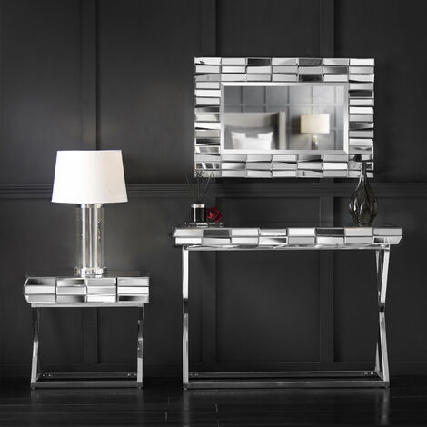 Knightsbridge Collection Grey Silver Rectagle Wall Mirror Side Table with Drawer And Mirrored Dressing Console Table with Chrome Crossed Legs