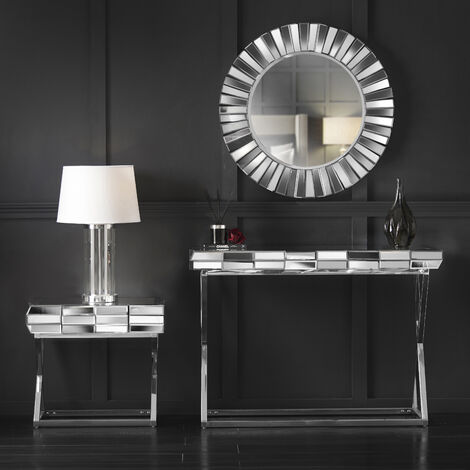 Knightsbridge Collection Grey Silver Round Wall Mirror Side Table with Drawer And Mirrored Dressing Console Table with Chrome Crossed Legs