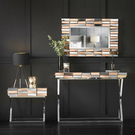 Knightsbridge Collection Rosegold Rectagle Wall Mirror Side Table with Drawer And Mirrored Dressing Console Table with Chrome Crossed Legs