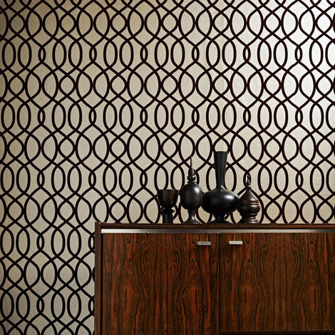 Knightsbridge Flock Russet Designer Wallpaper (Was £80)