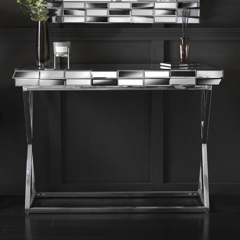 Knightsbridge - Grey Silver Mirrored Console Table 3D Glass Effect Chrome Crossed Legs For Bedroom Living Room