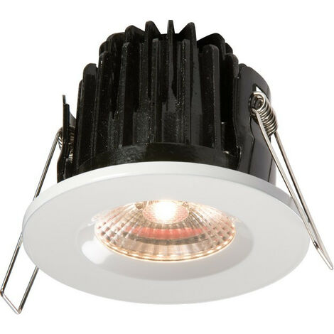 Knightsbridge LED 3000K Warm White Bathroom Downlight comes with White Round Bezel, IP65 7W