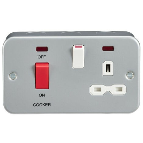 Knightsbridge Metal Clad 2G 45A DP Cooker Switch and 13A Switched Socket with Neons