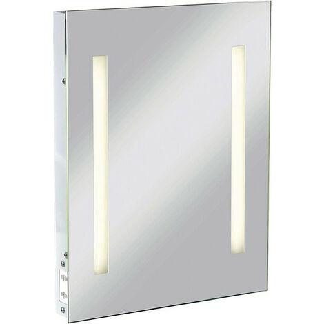 Knightsbridge Rectangular Bathroom Illuminated Mirror with Dual Voltage Shaver Socket, IP44