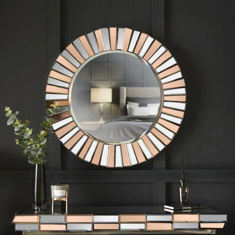 Knightsbridge - Rose Gold Wall Round Mirror 3D Effect Mirrored Design Perfect For Hallway Living Room Bedroom