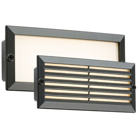 Knightsbridge White LED Recessed Brick Light - Black Fascia, 230V IP54 5W