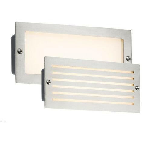 Knightsbridge White LED Recessed Brick Light - Brushed Steel Fascia, 230V IP54 5W