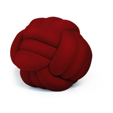Knot Decorative Cushion - Woven - for Sofa, Bed - Red made of Polyester, 45 x 45 x 42 cm