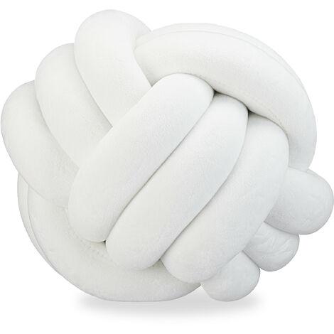 Knotenkissen, geknotetes Kissen für Sofa, Bett, dekorativ, skandinavisch, Zierkissen Knoten, Ø 25 cm, weiß
