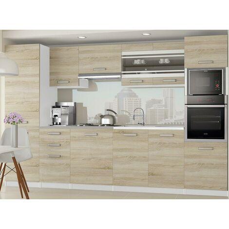 KNOX - Cuisine Complète Linéaire L 300cm 8 pcs - Plan de travail INCLUS - Ensemble meubles cuisine - Sonoma