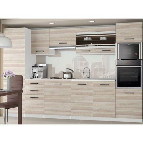 KNOX | Cuisine Complète Modulaire + Linéaire L 300cm 8 pcs | Plan de travail INCLUS | Ensemble armoires meubles cuisine | Acacia - Acacia