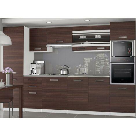 KNOX   Cuisine Complète Modulaire + Linéaire L 300cm 8 pcs   Plan de travail INCLUS   Ensemble armoires meubles cuisine   Châtaigne